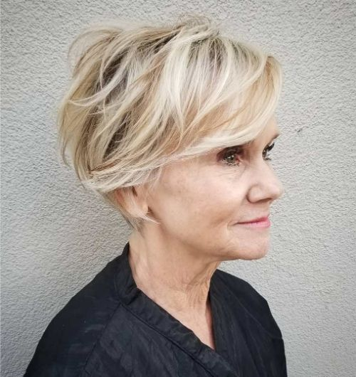 70+ Messy Short Cut with Bangs