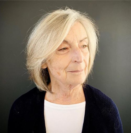 Medium Bob with Long Bangs for Older Women