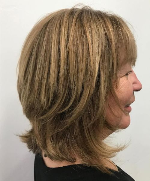 Medium Haircut for Women Over 70
