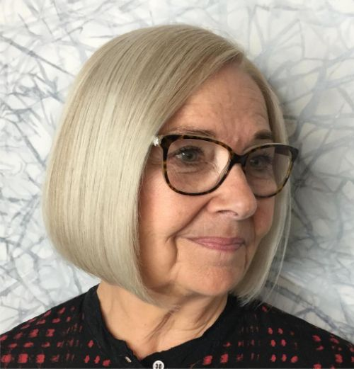 Over 70 Blonde Bob Cut
