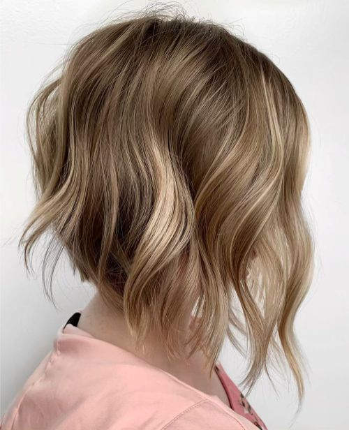 Mid Length Wavy Bob Hairstyle for Fine Hair