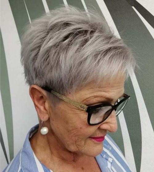 Gray Tapered Hairstyle for Older Women