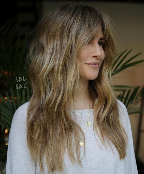 Long Boho Waves with Split Bangs