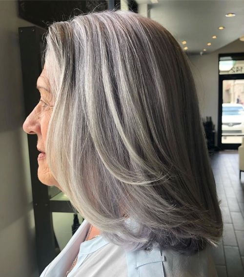 Medium Length Gray Haircut