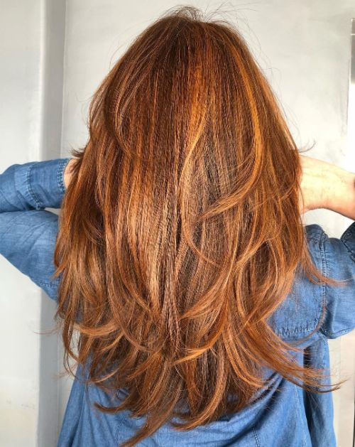 Long Copper Hair with Layers