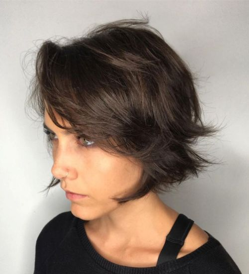 Messy Short Layered Bob for Fine Hair