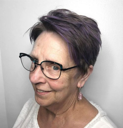 Purple Highlights for Brunette Hair Over 70