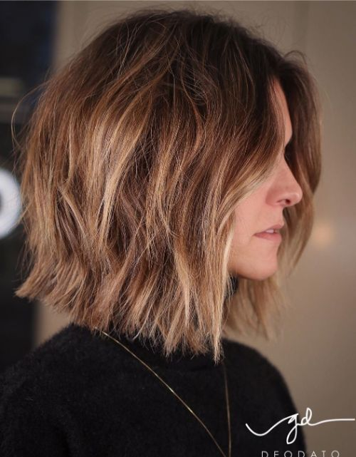 Shaggy Shoulder Length Haircut for Thick Hair