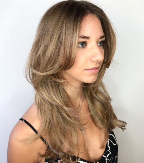 Long Feathered Haircut with Side Bangs