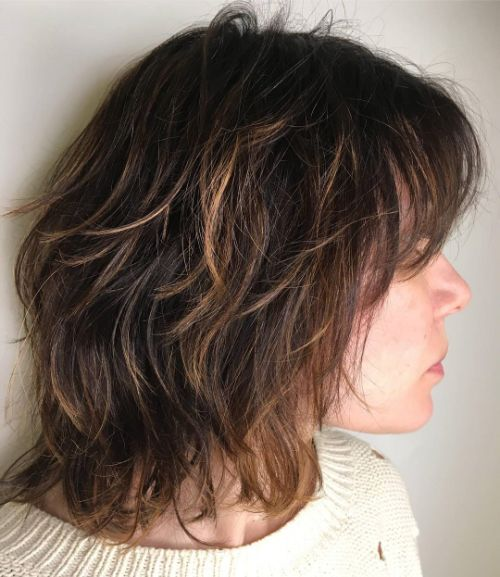 Medium Shag Haircut with Subtle Highlights