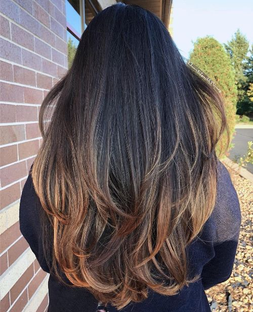 Long Hair with Layers and Face-Framing Highlights