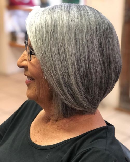Salt-and-Pepper Hair for Women in Their 70s