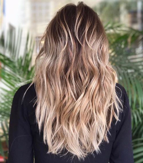Long Messy Beachy Waves with Blonde Balayage