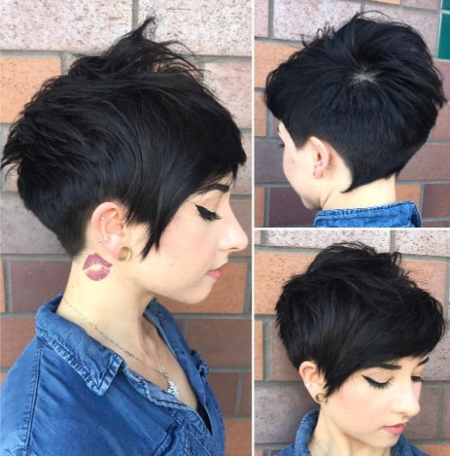 Very Short Black Undercut Pixie