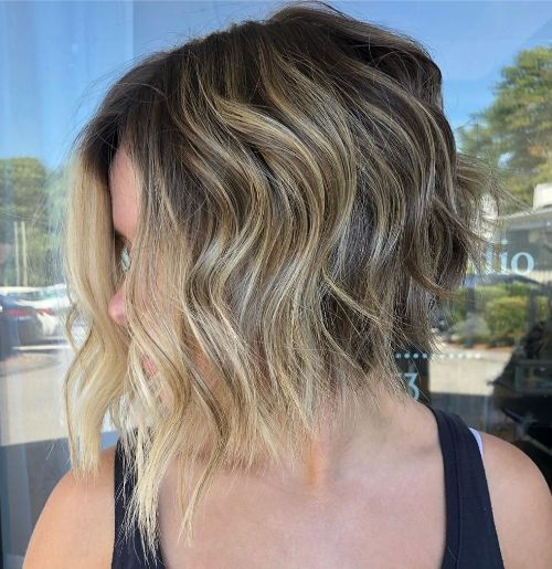 Curly Angled Bob for Fine Hair