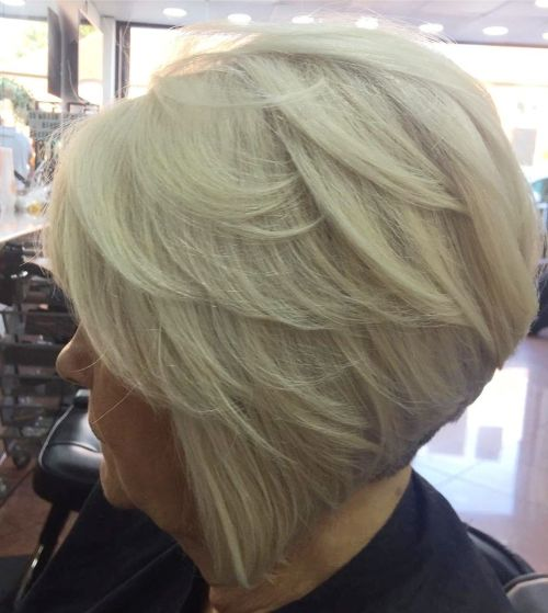 Over 70 Blonde Inverted Hairstyle