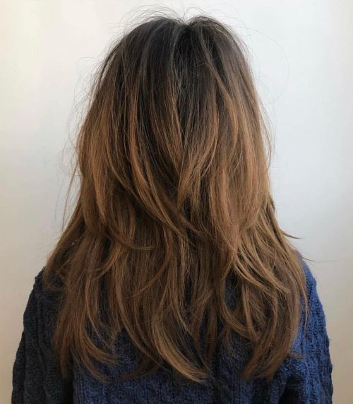V-Cut Layers for Thick Hair