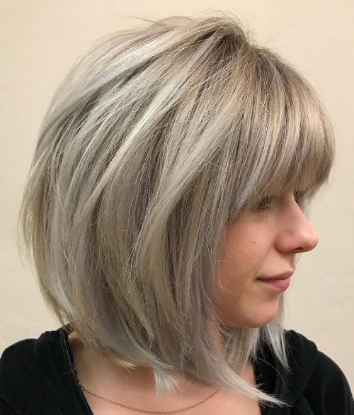 Cute Easy Gray Blonde Lob Hairstyle