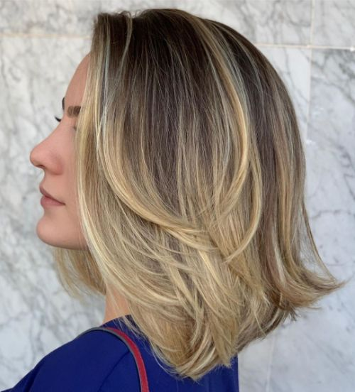 Medium-Length Layered Hair with Balayage