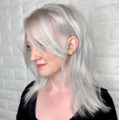 Shoulder Length Cut for Thin Gray Hair