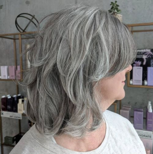 Long Layered Bob for Natural Gray Hair