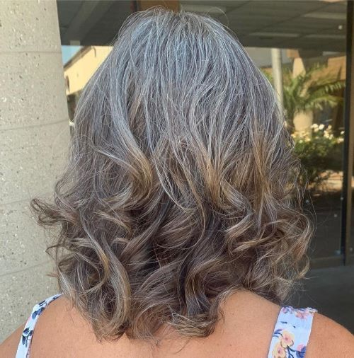 Medium Haircut for Gray Hair with Curly Ends