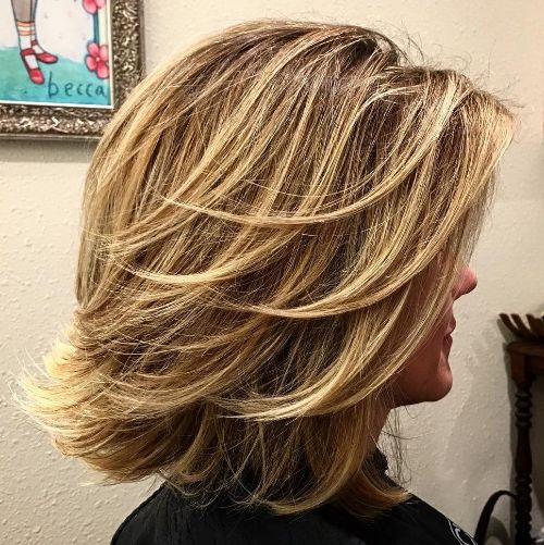 Feathered Layered Lob Cut