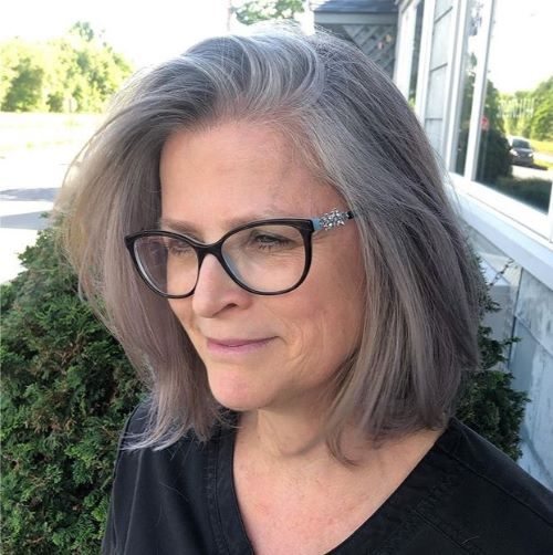 Gray Lob for Straight Hair