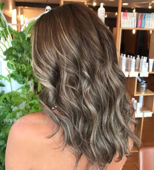 Long Gray Brown Balayage Hair