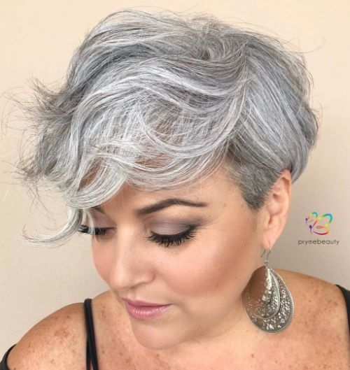 Short Haircut for Gray Hair with Bangs