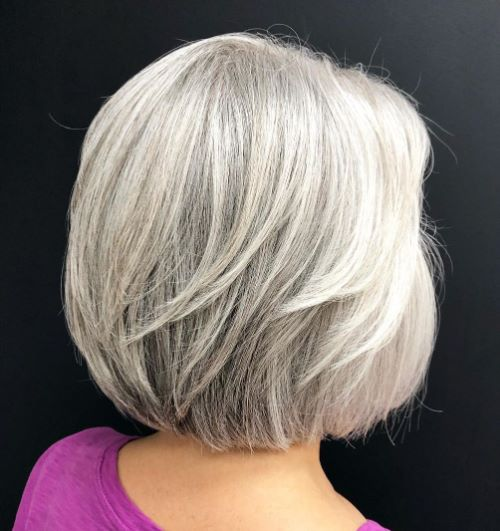 Shiny Silver Layered Bob