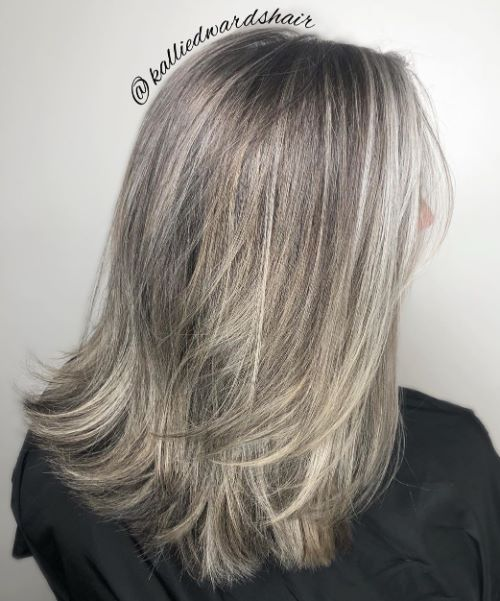 Medium Layered Gray Haircut