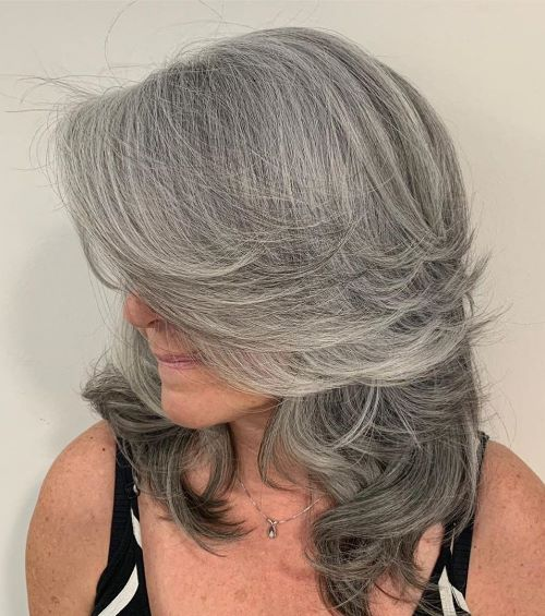 Medium Feathered Gray Haircut for Older Women