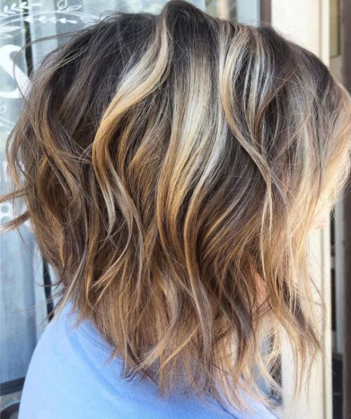 Inverted Wavy Lob for Thin Hair