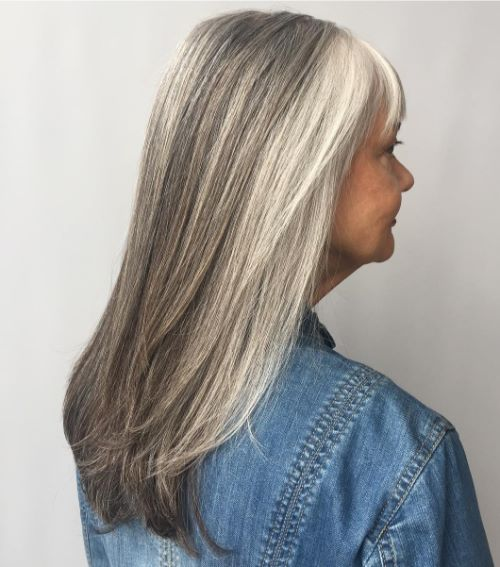 Cute Long Gray Haircut with Bangs