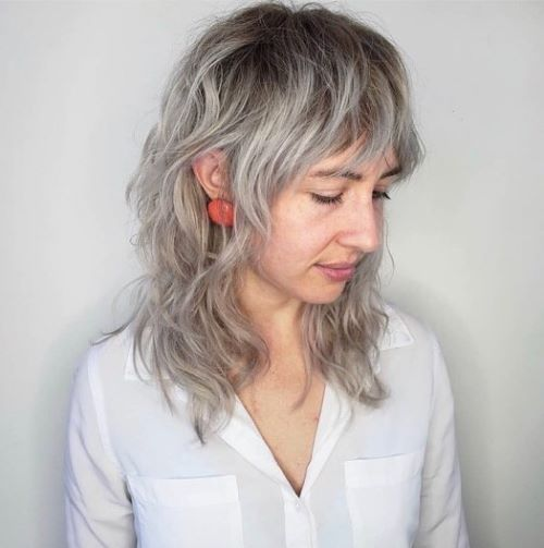 Medium Shaggy Haircut for Gray Hair
