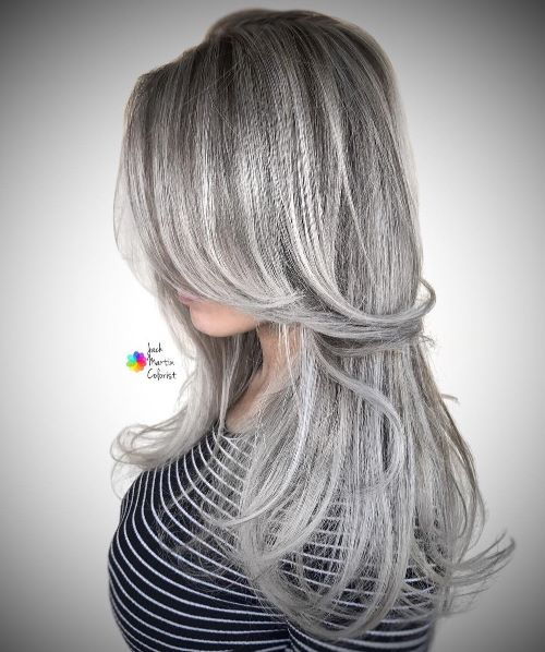 Long Gray Hair Style with Layers
