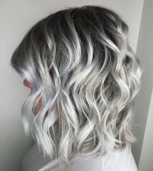Shoulder-Length Silver Bob with Waves