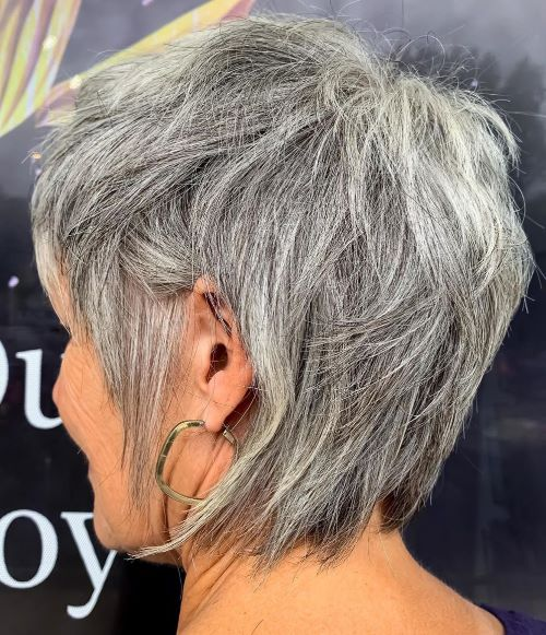 Gray Overgrown Pixie Cut