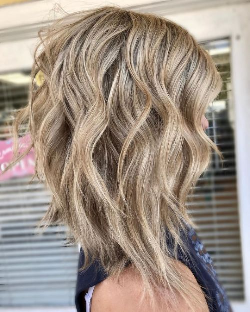 Medium-Length Layered Hair with Uneven Layers