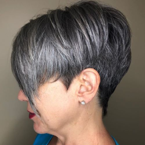 Short Dark Hairstyle with Silver Balayage