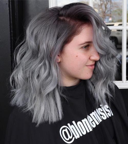 Medium Wavy Gray Hair Style
