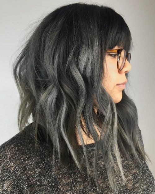 Gray Lob Hair Style with Bangs and Glasses