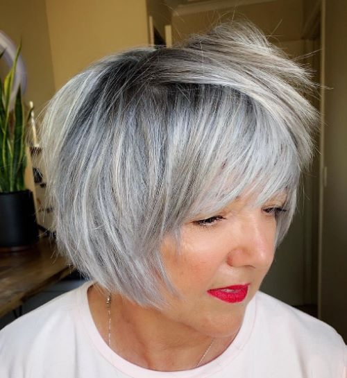 Short Razored Gray Bob Haircut