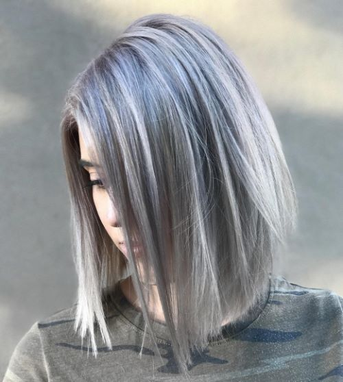 Long Bob with Silver Highlights and Lowlights