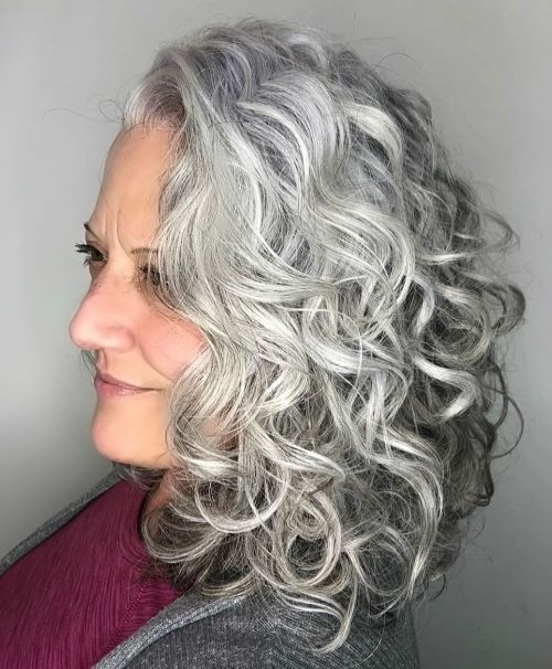 Elegant Medium Gray Hair Style with Curls
