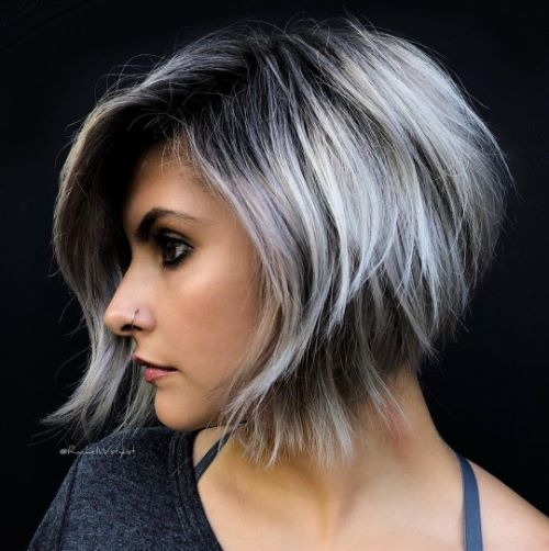 Effortless Choppy Bob with Silver Balayage