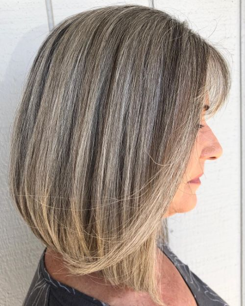 Chic Bronde and Gray Lob Hairstyle