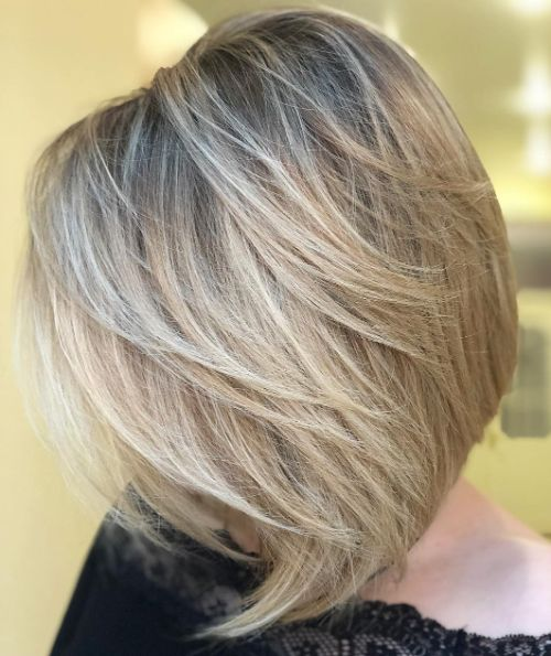Layered Feathered Bob for Thin Hair