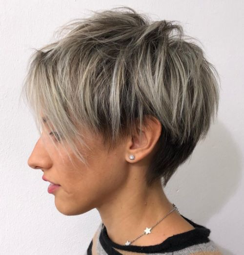 Gray Balayage for Bronde Pixie